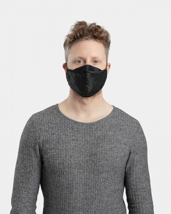 MaskPac luxurious silk face masks black front view male