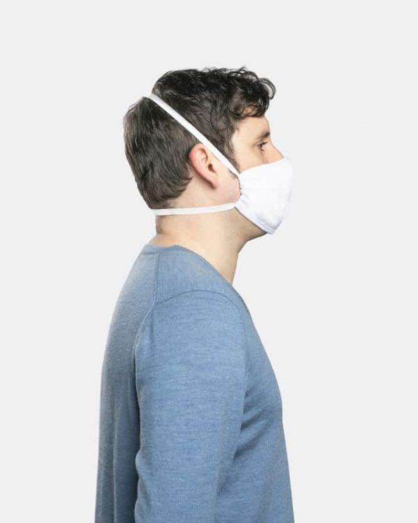 FloatPac poly cotton white facemask side view male