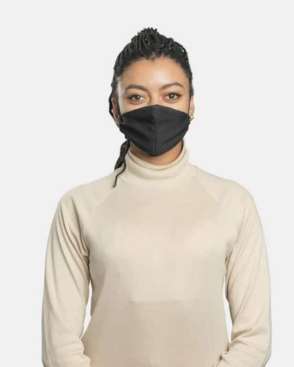 FloatPac poly cotton black facemasks front view female