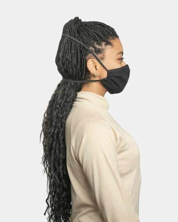 FloatPac poly cotton black facemasks side view female