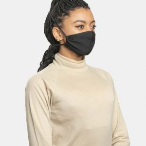 FloatPac poly cotton black facemask side view female