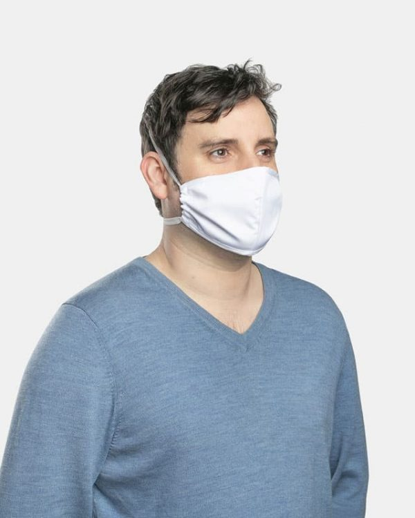 FloatPac poly cotton white facemasks side view male