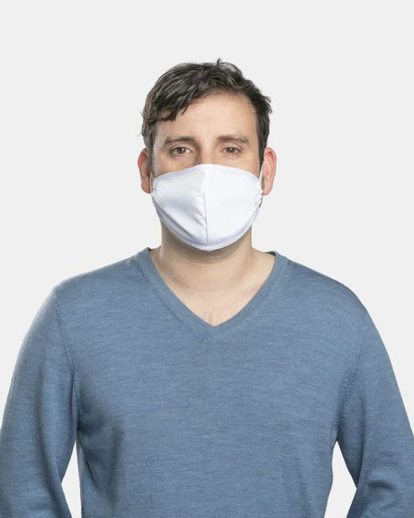 FloatPac poly cotton white facemasks front view male