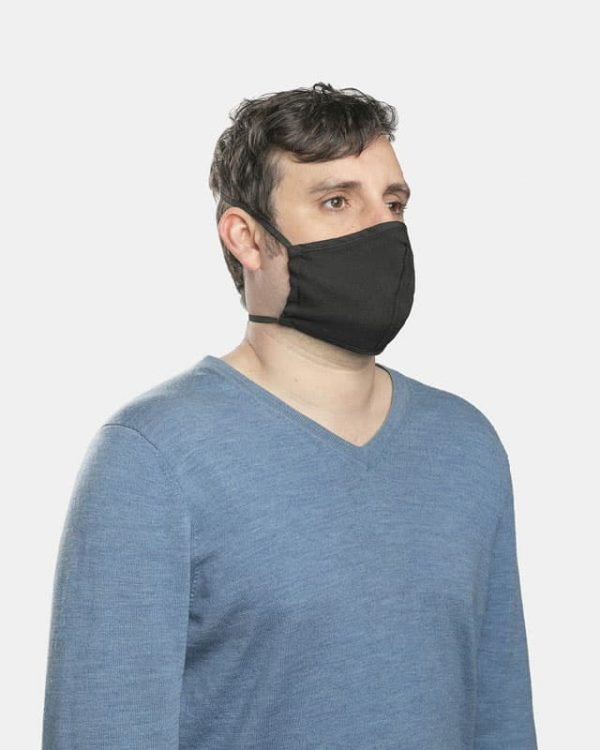 FloatPac poly cotton black facemask side view male