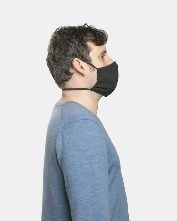 FloatPac poly cotton black facemasks side view male