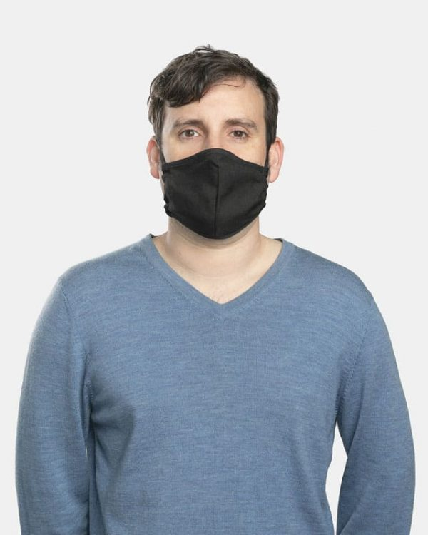 FloatPac poly cotton black facemasks front view male