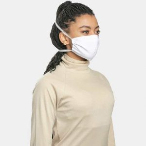 MaskPac poly cotton white facemask side view female