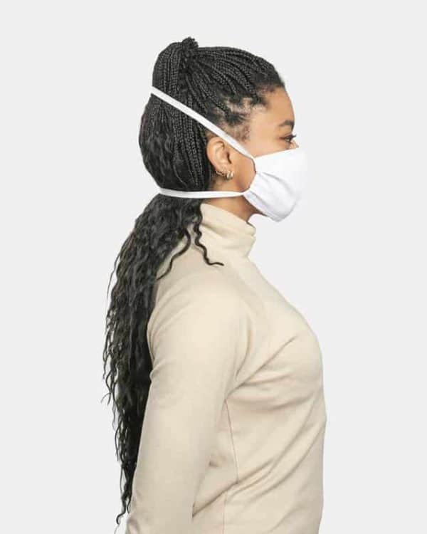 FloatPac poly cotton white facemasks side view female