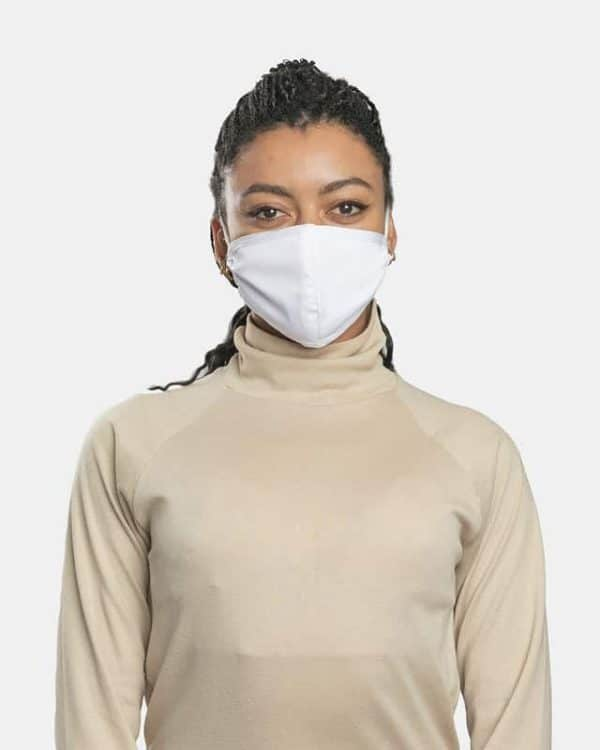 FloatPac poly cotton white facemasks front view female