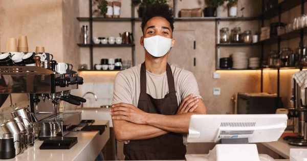 MaskPac GALEGuard resuable facemasks barista front view