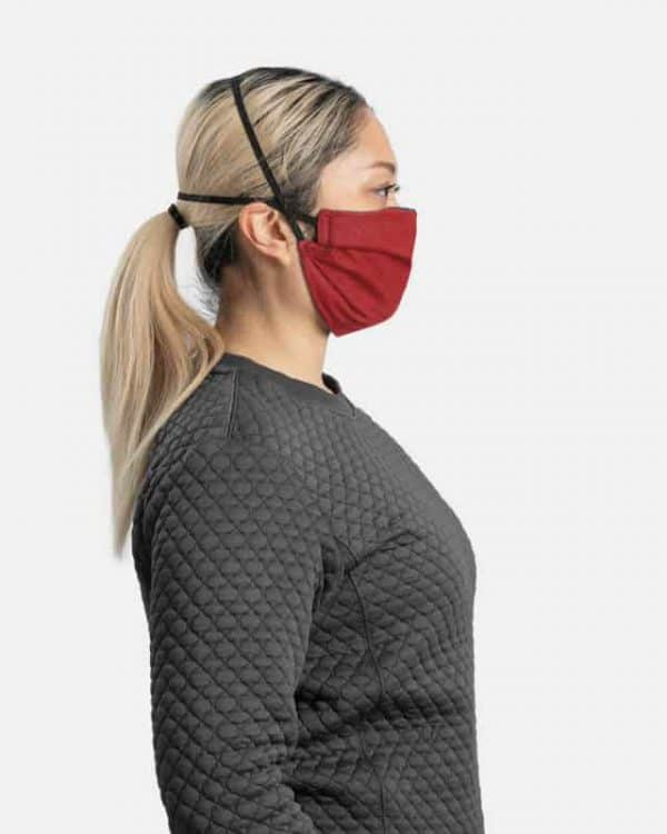 MaskPac pleated facemasks red side view females