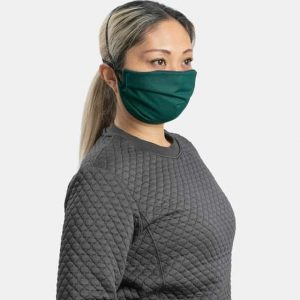 MaskPac pleated facemasks forest green side view female