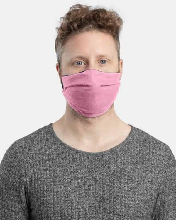 MaskPac pleated facemasks pink front view male