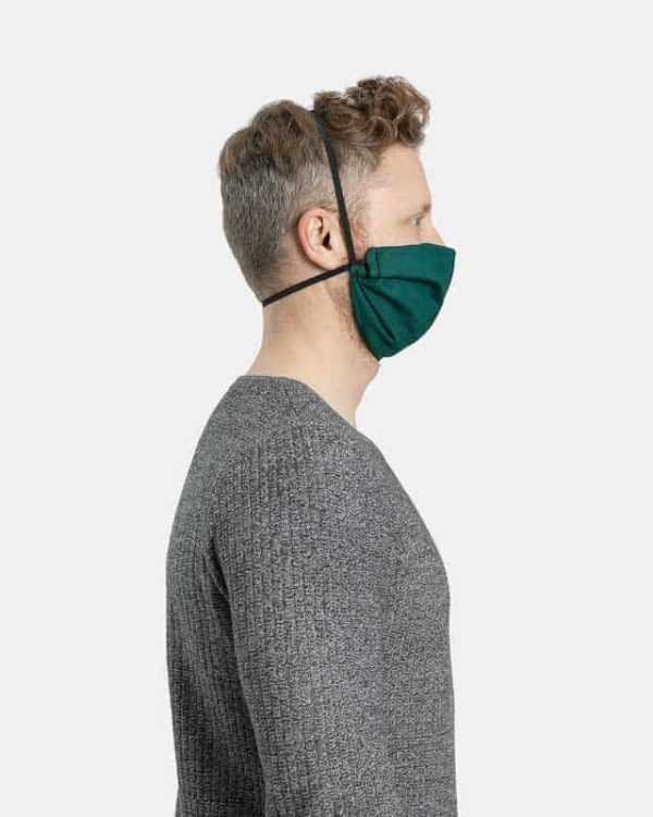 MaskPac pleated facemasks forest green side view males