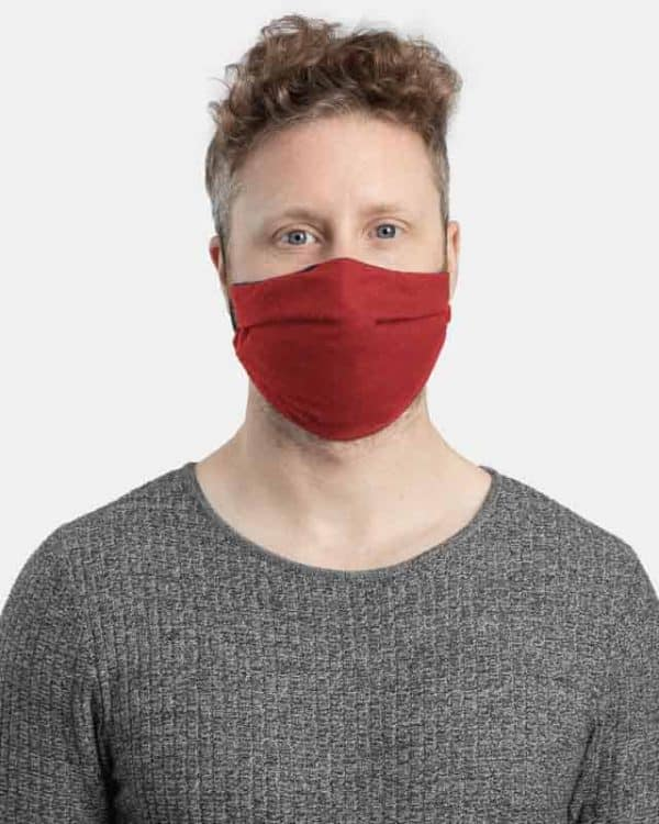 MaskPac pleated facemasks red front view male