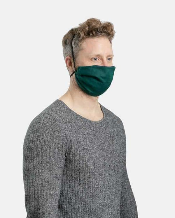 MaskPac pleated facemasks forest green side view male