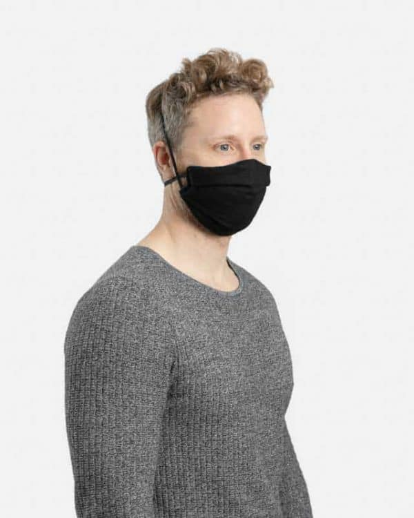 MaskPac pleated facemasks black side view males