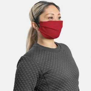 MaskPac pleated facemasks red side view female