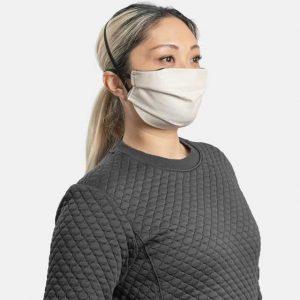 MaskPac pleated facemasks natural cotton side view female