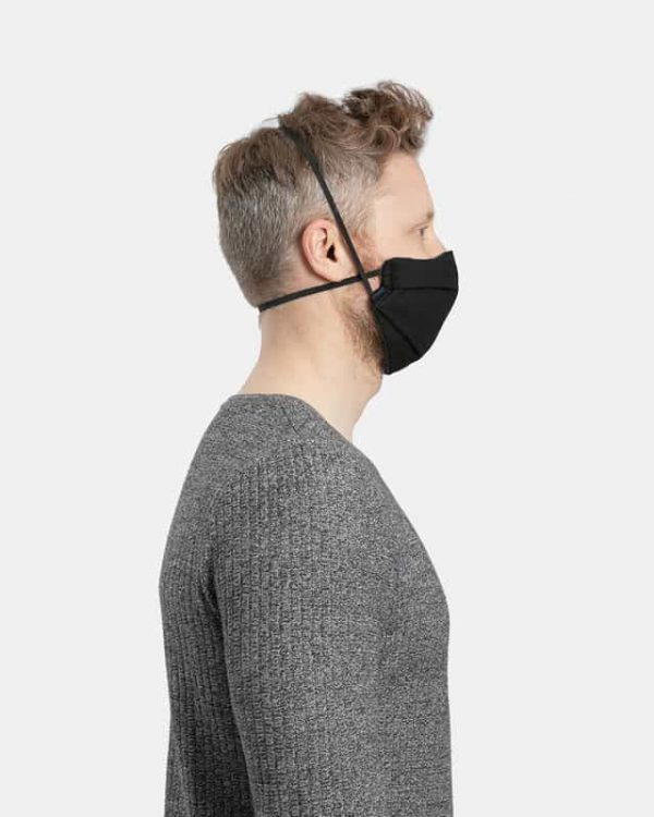 Cotton facemask pleated black side view