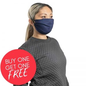 MaskPac pleated facemasks navy blue side view female