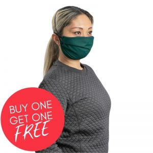 MaskPac pleated facemasks green side view female