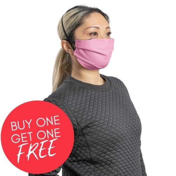 MaskPac pleated facemasks pink side view female