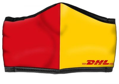 DHL red and yellow MaskPac custom face mask