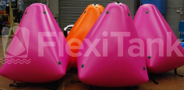 SR2 Orange and pink truncated square base inflatable marker buoys