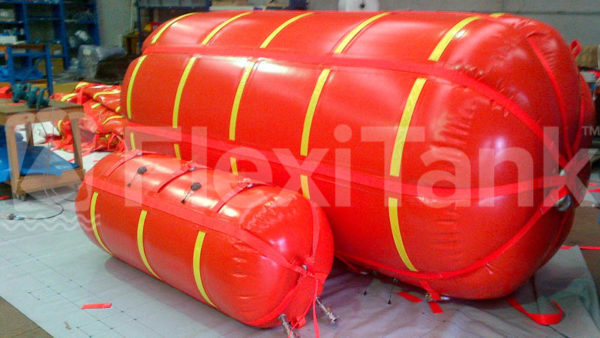 Flexitank 5 tonne & 500kg cylindrical lift bags under test