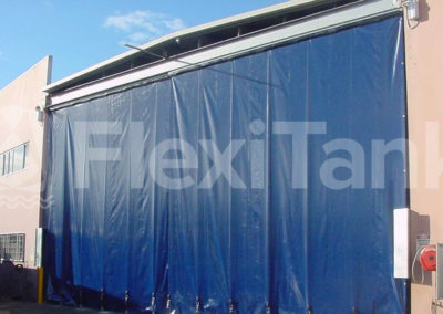 Warehouse curtains on factory door