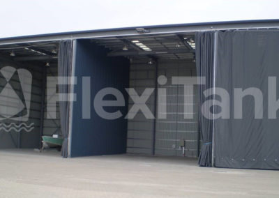 Warehouse curtains on shed door