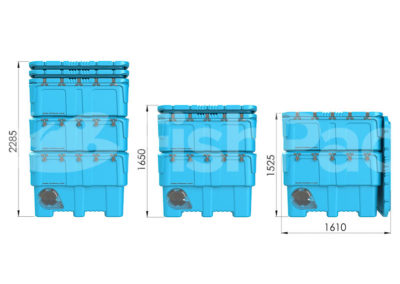 The FishPac StackPac Transport Bin | Stacked External dimensions
