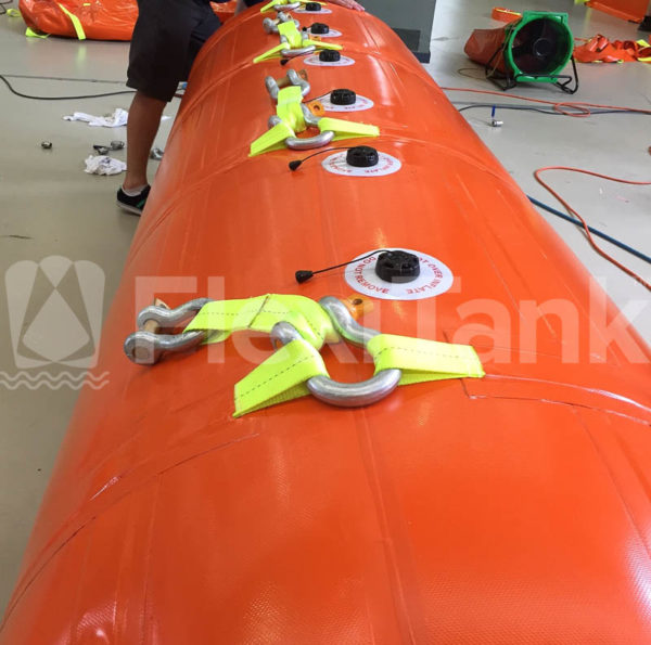 2.5 tonne lift bags inflated during testing