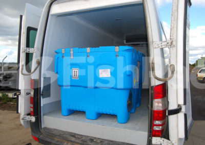 The FishPac StackPac transport bin fits neatly into all transport vans