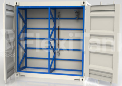 StoragePac container liner and bladder systems with recessed bulkhead