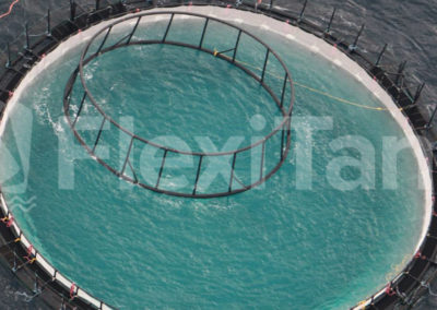 Aquculture cage liners in water