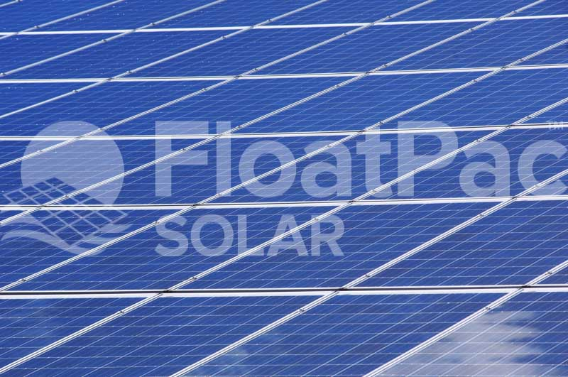 Floating solar farms covering water by FloatPac Solar