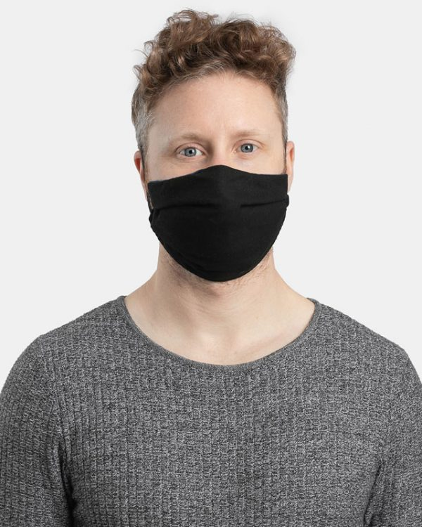 Reusable facemask pleated black front view