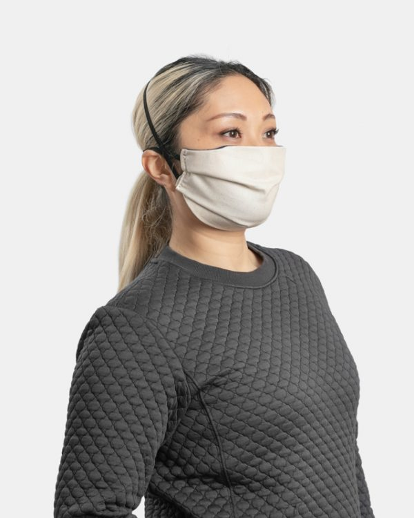 Reusable facemask pleated natural cotton side view