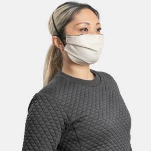 Reusable facemask pleated natural cotton