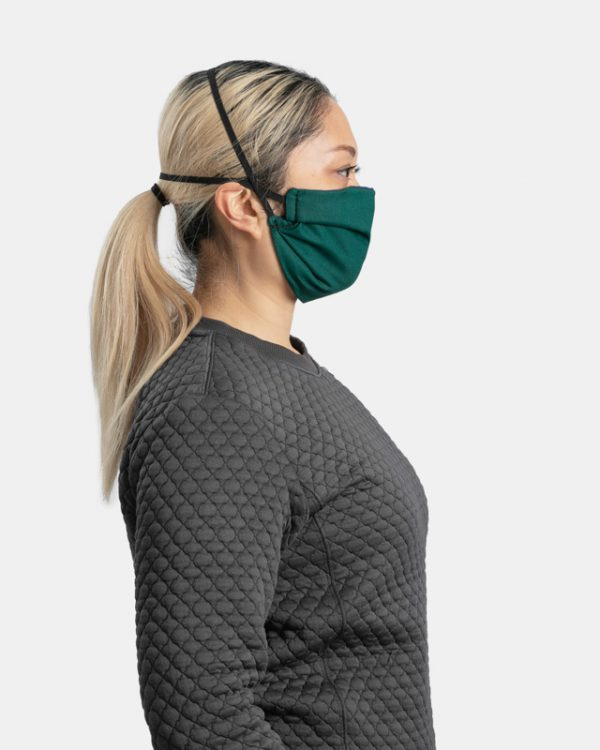 Reusable facemask pleated green side view