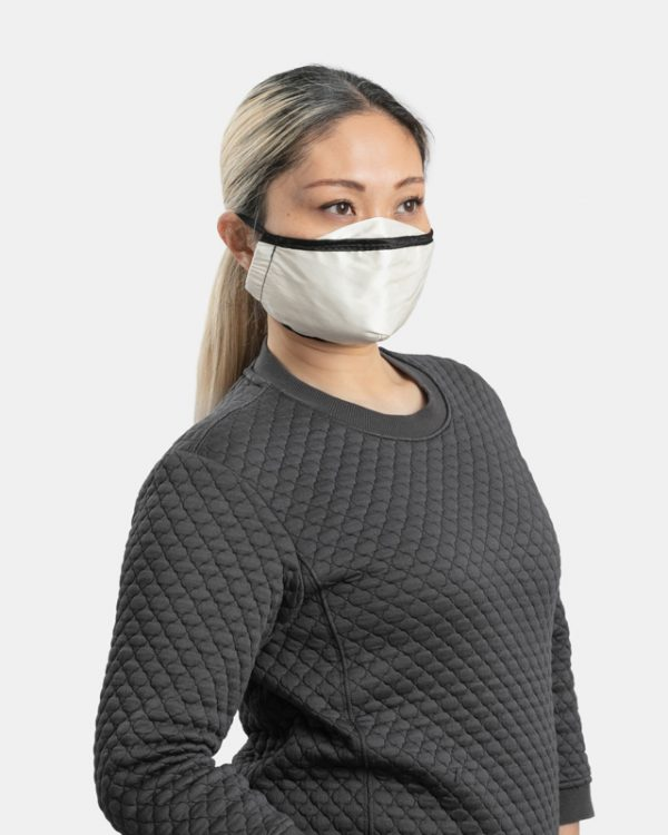 Fitted natural cotton facemask side view