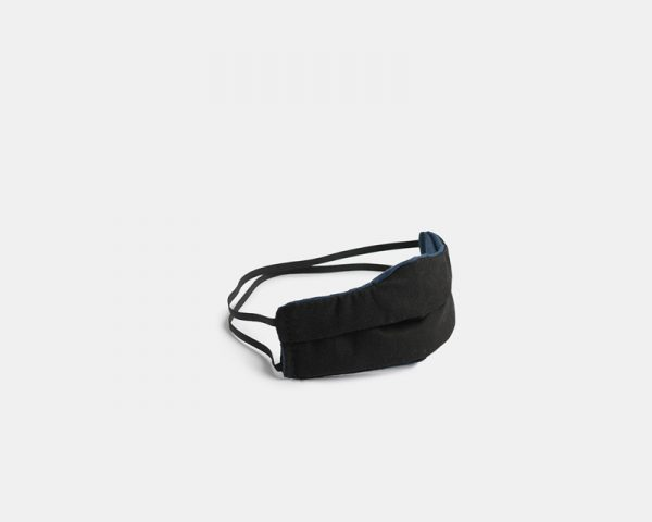 Reusable facemask pleated black cotton stock photo