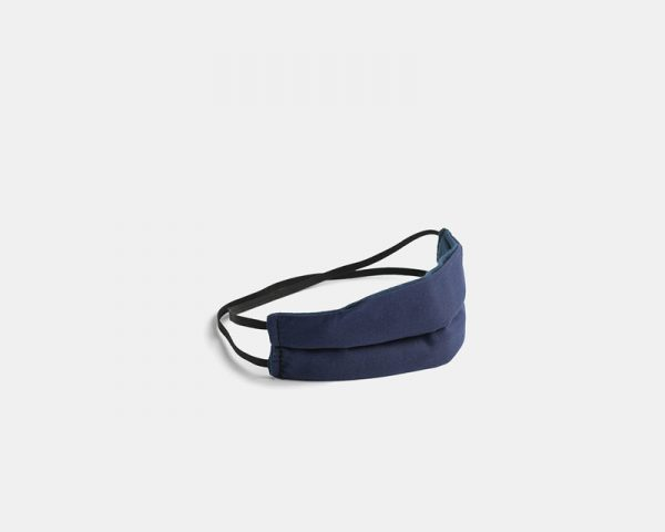 Reusable facemask pleated navy blue cotton stock photo