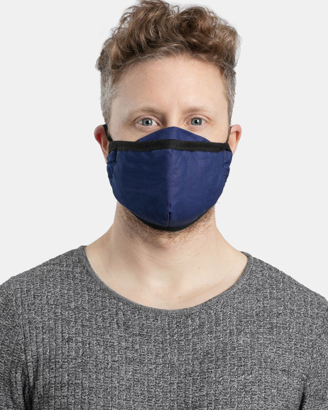 Fitted navy blue cotton facemask front view