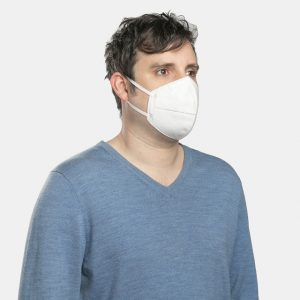 FloatPac KN95 disposable mask with earloops on male side view