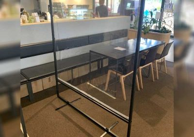 Sneeze guards are self supporting and can be setup between tables for patron protection