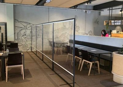 Sneeze guards can easily be setup to create minimalist partition walls
